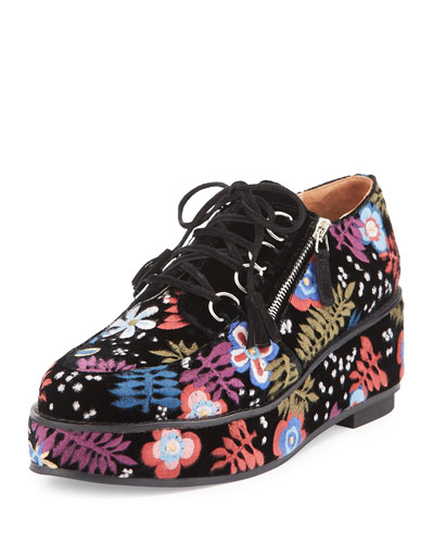 Marnie Embroidered Suede Oxford, Black/Multi