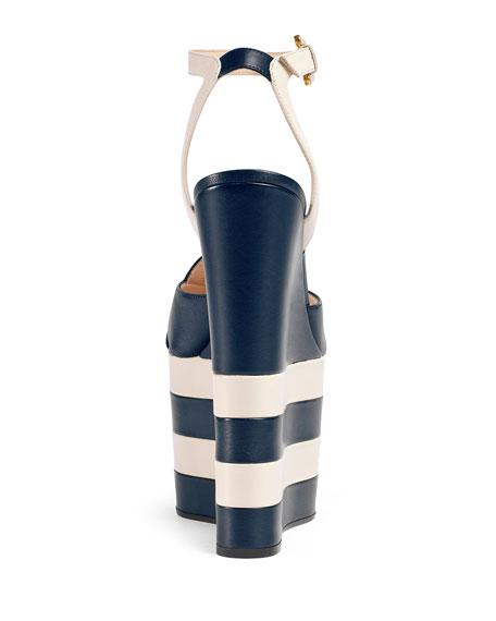 d3d4792a47bc Gucci Sally Striped Platform Wedge Sandal