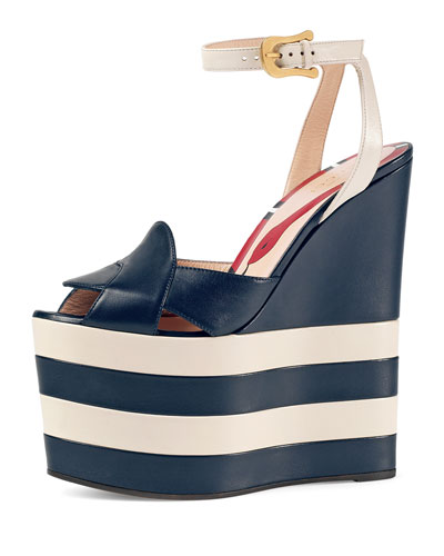 Sally Striped Platform Wedge Sandal, Navy/White