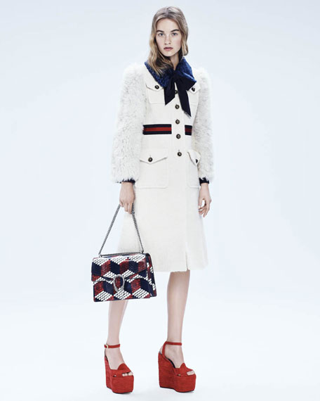 Gucci Sally Suede Platform Wedge Sandal