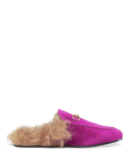 Princetown fur-lined velvet slippers Gucci 3w5XG