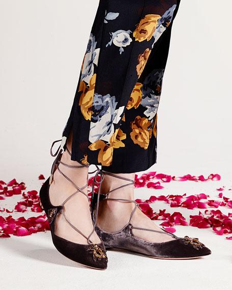 Christy Embellished Lace-Up Flat