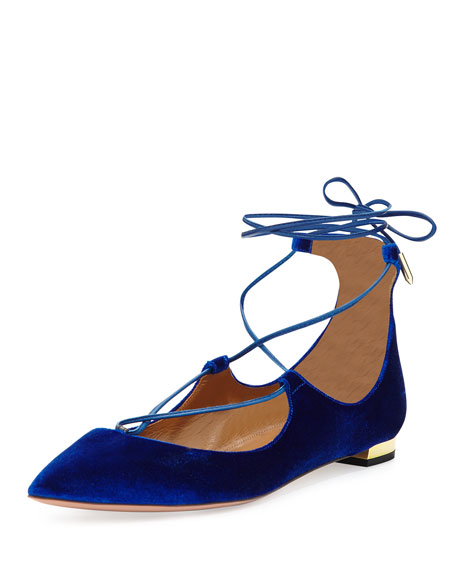 Aquazzura Christy Velvet Lace-Up Flat, Midnight Blue