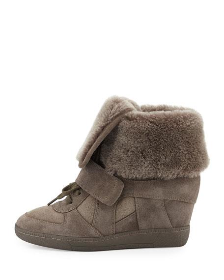 Brendy Fur-Lined Wedge Sneaker, Topo