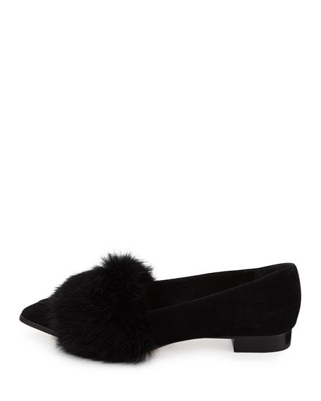 Suede Ballerina Flat w/Rabbit Fur Trim