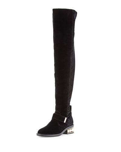 Casati Pearly Velvet Over-the-Knee Boot, Black