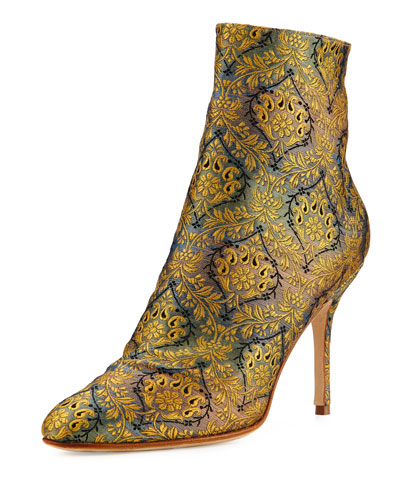 Insopo Brocade Ankle Boot, Gold/Gray/Blue