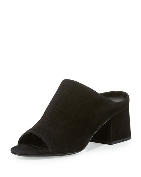 Suede Block-Heel Mule Pump,  Black