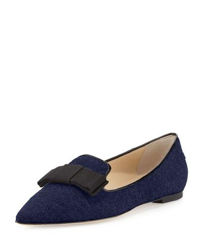 Gala Flocked Flannel Loafer, Navy