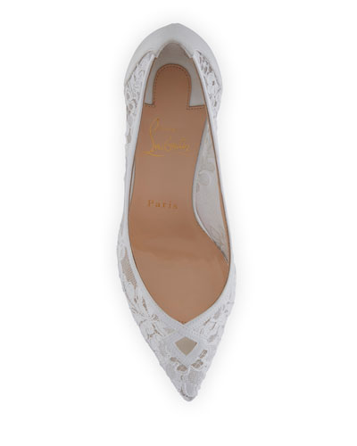 CHRISTIAN LOUBOUTIN Leathers NEOALTO LACE 85MM RED SOLE PUMP, WHITE