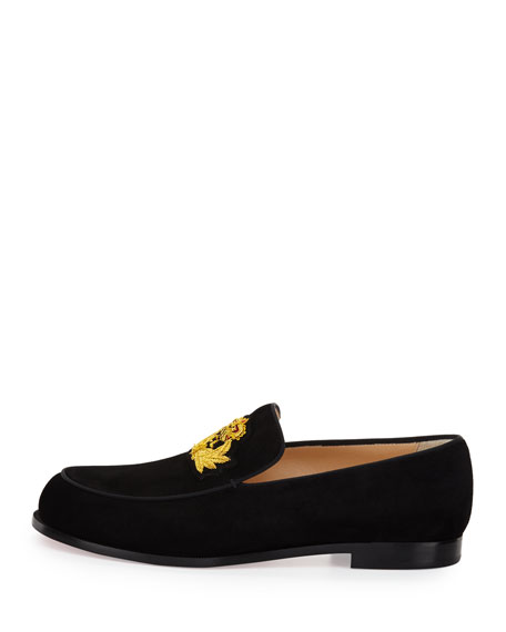 Laperouza Suede Crest Red Sole Loafer, Black/Gold