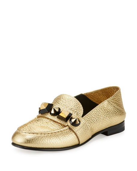 Fendi Metallic Studded Leather Moccasin, Gold