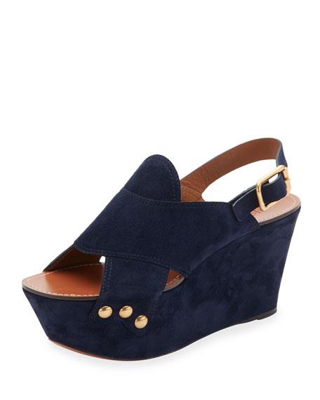 Chloe Suede Slingback Platform Sandal, Blue Lagoon