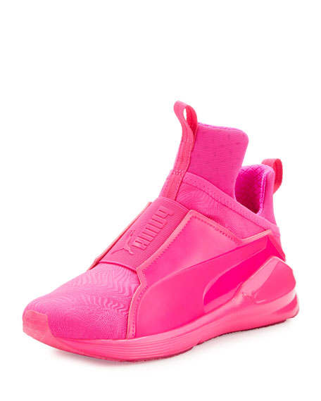 Fierce Embossed High-Top Sneaker, Pink Glo