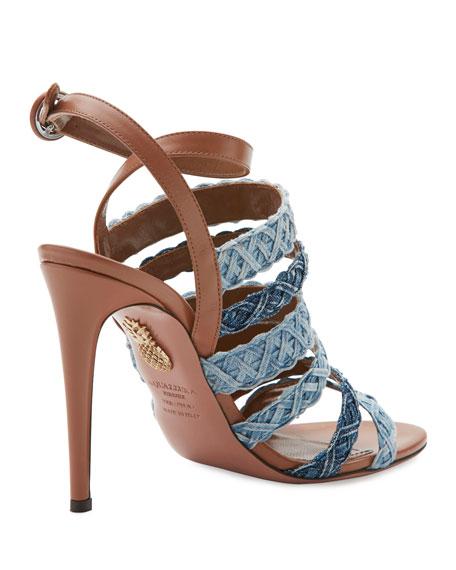 Tyra Strappy Woven Denim Sandal, Whiskey/Jeans
