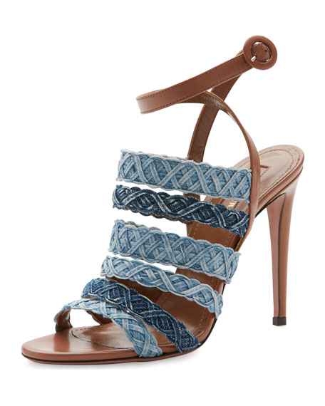 Tyra Strappy Woven Denim Sandal, Whiskey/Jeans