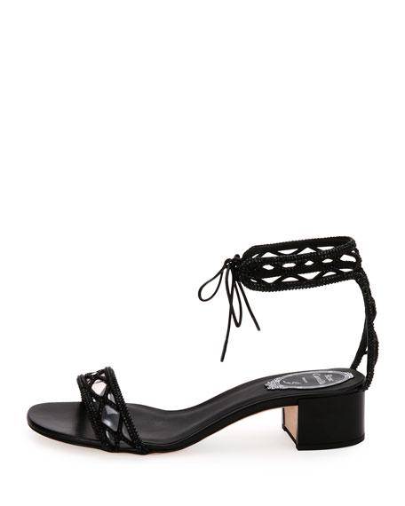 Crystal-Studded 40mm Ankle-Tie Sandal, Black