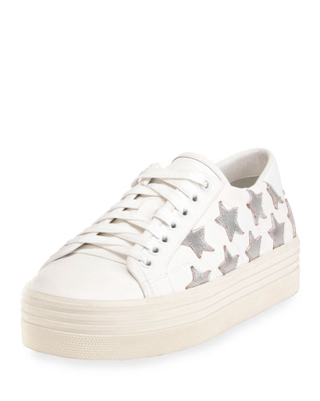 b52c869597c2 Saint Laurent Court Classic Leather Platform Sneaker, Off White/Platinum