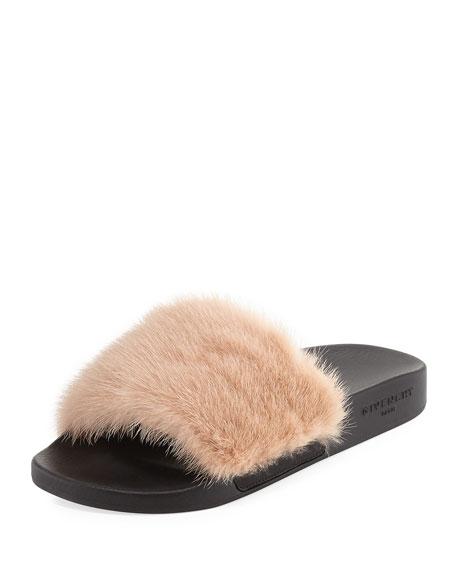 38d84b52f97 Mink Fur Sandal Slide Nude Pink