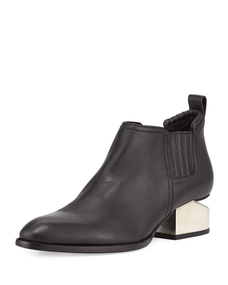 Alexander Wang Kori Tilt-Heel Leather Bootie, Black