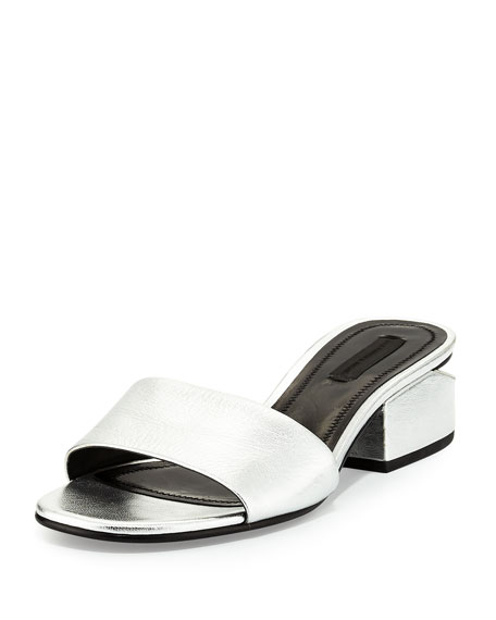 Hollie Metallic Low-Heel Mule Sandal, Silver