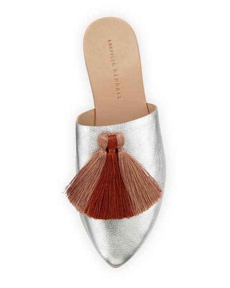 Winnie Tassel Mule Slide, Silver/Pink Clay