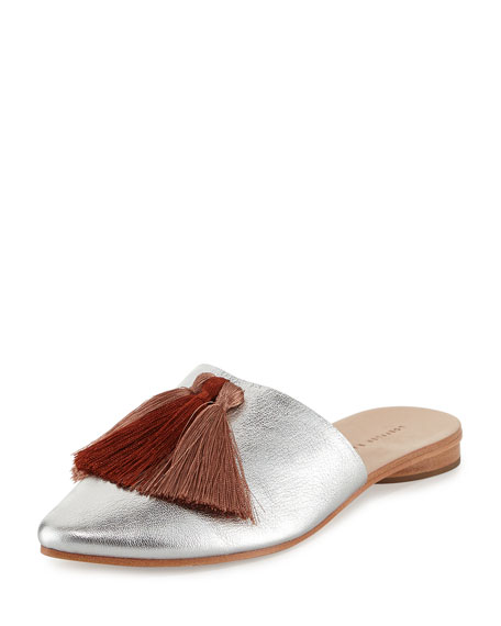Loeffler Randall Winnie Tassel Mule Slide, Silver/Pink Clay