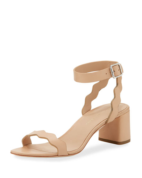 Loeffler Randall Emi Scallop Leather Block Heel Sandals