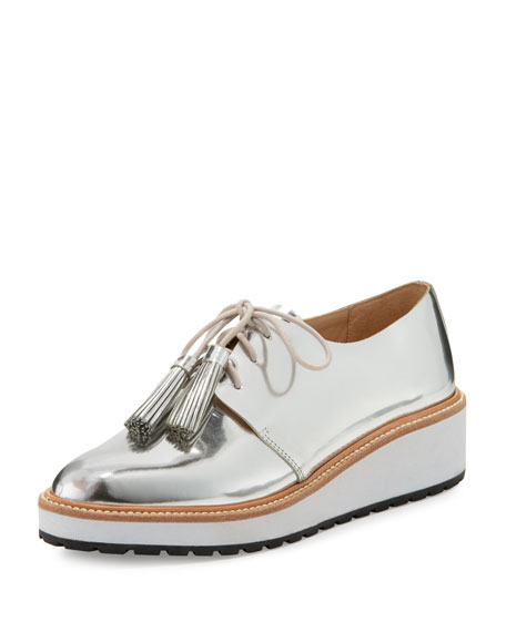 Callie Leather Demi-Wedge Oxford, Silver