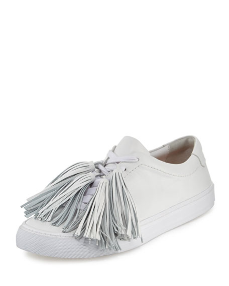 Logan Tassel-Tie Leather Sneaker, Optic White
