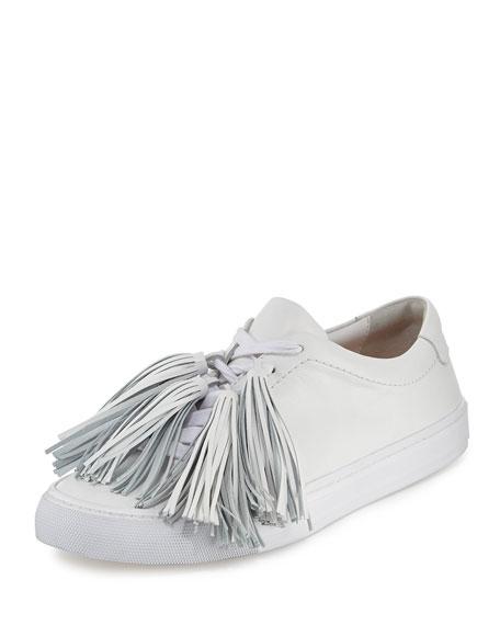 Logan Tassel-Tie Leather Sneaker, Optic White