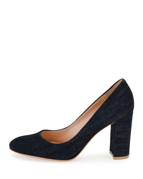 Linda Denim Block-Heel Pump, Blue