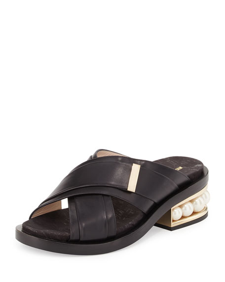 Casati Pearly-Heel Crisscross Sandal Slide, Black