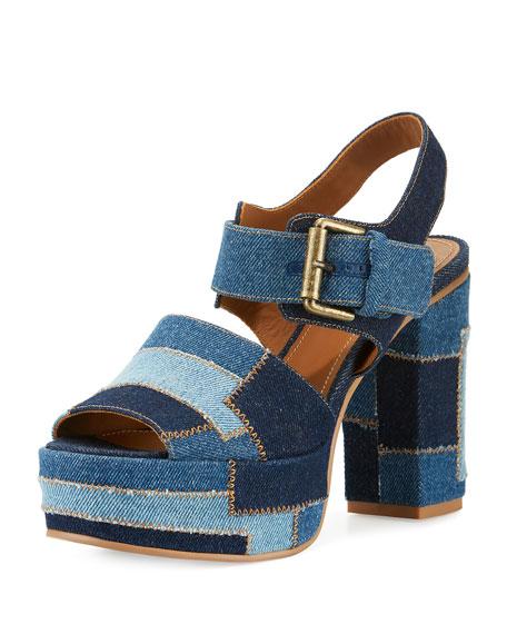 752ec7de02b4 See by Chloe Tara Patchwork Denim Platform Sandal