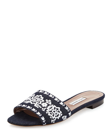 Sprinkles Fest Embroidered Mule Sandal, Denim/White