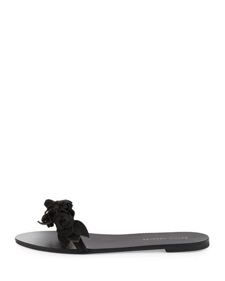 Lilico Floral Suede Slide Sandal, Black