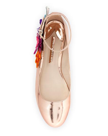 Hula Floral-Applique Ankle-Strap Flat, Rose Gold