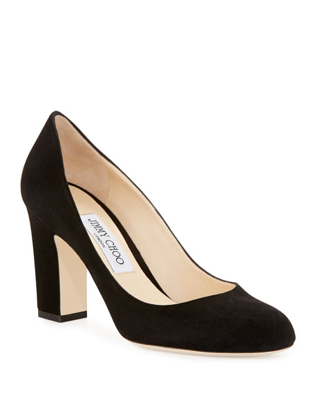 Jimmy Choo Billie Suede Block-Heel Pump