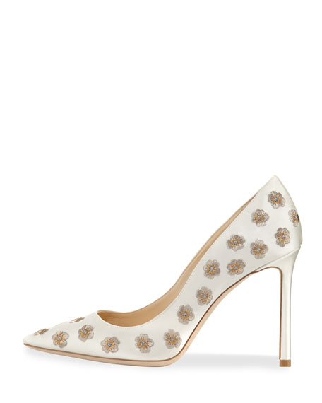 Romy Embroidered Satin Pump
