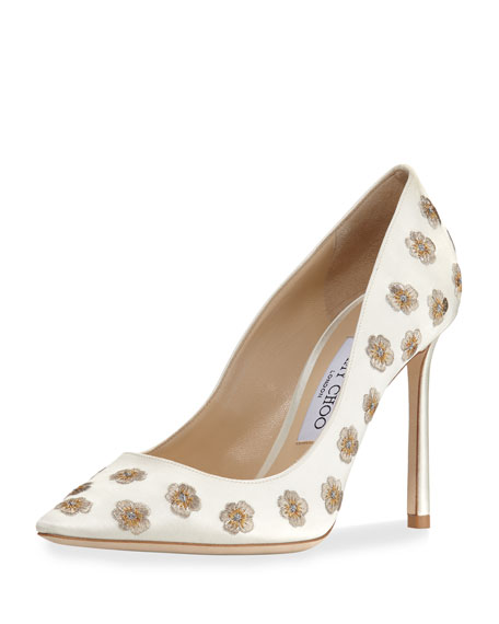 Image 1 of 1: Romy Embroidered Satin Pump