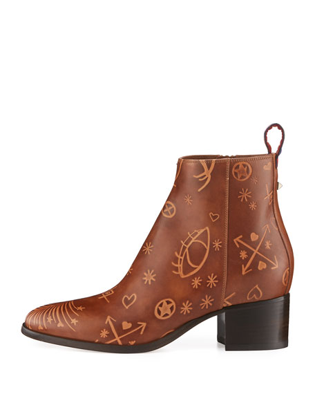 Santeria Embossed Leather Bootie, Light Brown