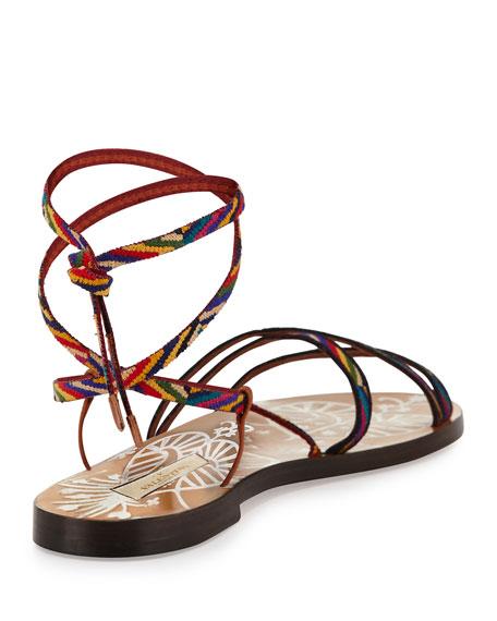 Santeria Lace-Up Flat Sandal, Multi