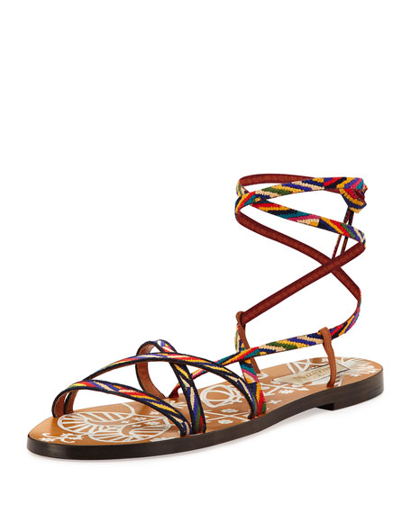 Valentino Santeria Lace-Up Flat Sandal, Multi