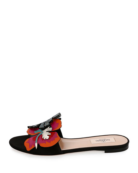 Tropical Dream Flat Slide Sandal, Black/Multi