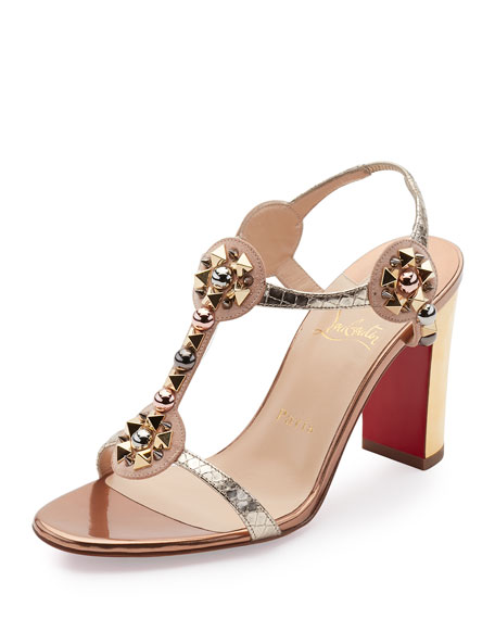 Christian Louboutin Kaleitop Spike T-Strap 85mm Red Sole