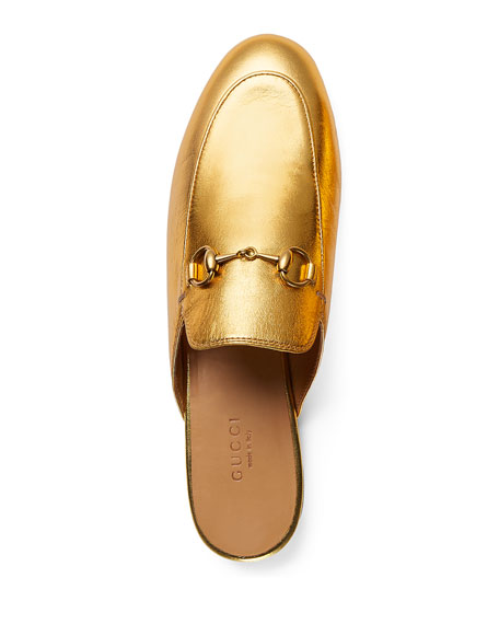 Princetown Leather Horsebit Mule, Gold