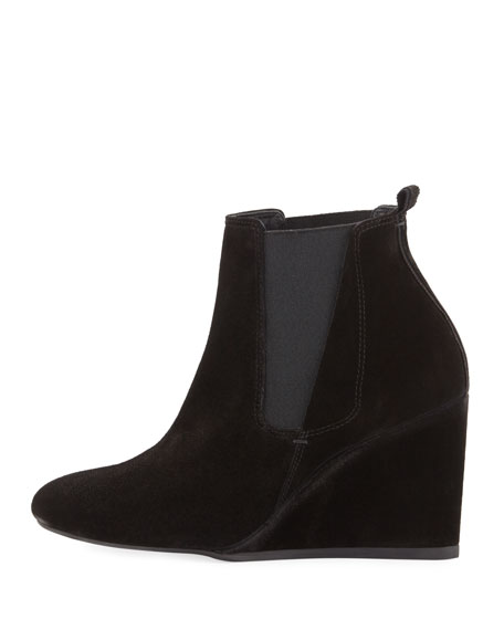 Suede Wedge Chelsea Boot, Black