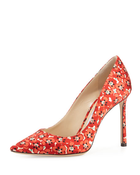 Jimmy Choo Romy Floral-Print 100mm Pump, Red Pattern