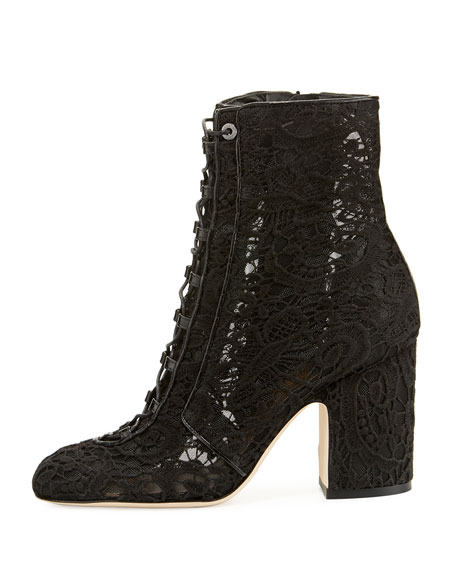 Milly Crocheted Lace-Up Ankle Boot, Black