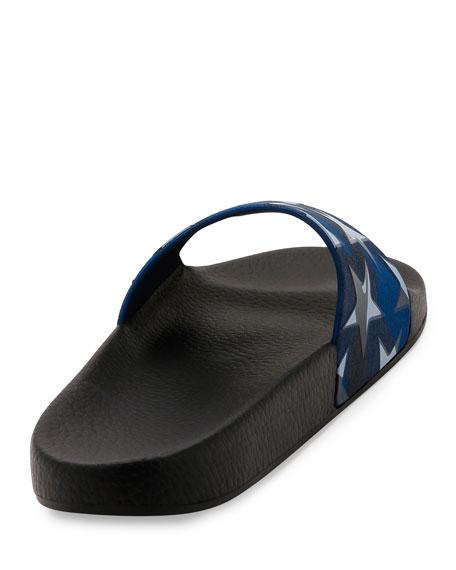 PVC Stars Rubber Slide Sandal, Black/Blue